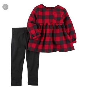 Carter's Red Buffalo Plaid Top & Black Pants
